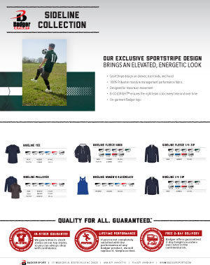 Badger Sales Sheet - Collections - Sideline