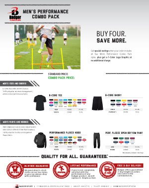 Badger Sales Sheet - Combo Pack - Men's Performance
