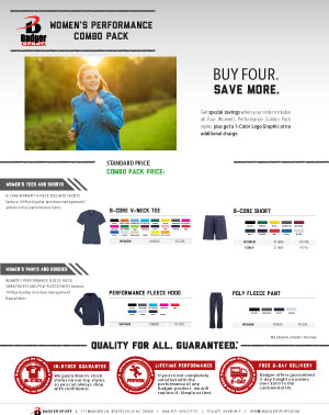 Badger Sales Sheet - Combo Pack - Women's Performance