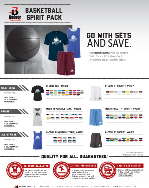 Badger Sales Sheet - Spirit Pack - Basketball