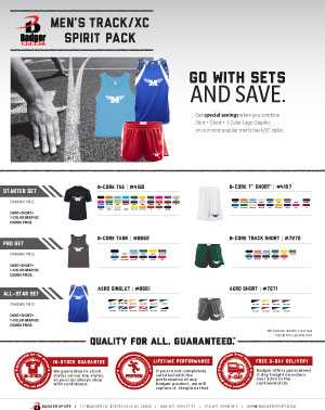 Badger Sales Sheet - Spirit Pack - Men's Track & Cross Country