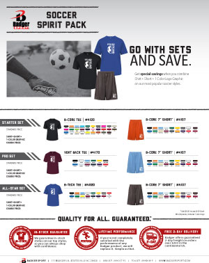 Badger Sales Sheet - Spirit Pack - Soccer