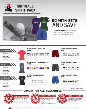 Badger Sales Sheet - Spirit Pack - Softball