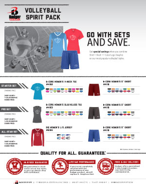 Badger Sales Sheet - Spirit Pack - Volleyball