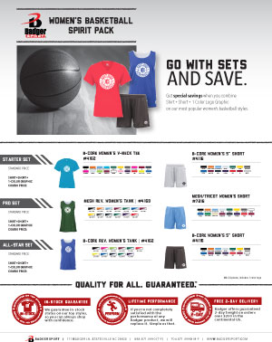 Badger Sales Sheet - Spirit Pack - Women's Basketball