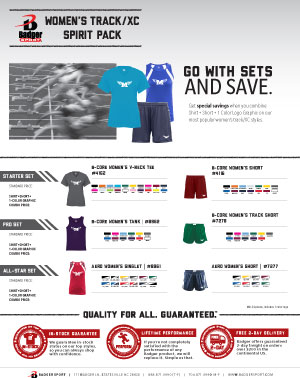 Badger Sales Sheet - Spirit Pack - Women's Track & Cross Country