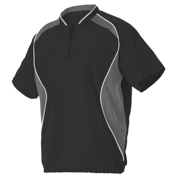 Adult Short Sleeve Baseball Batters Jacket - Black/ Charcoal Solid/ White (3JSS13A)