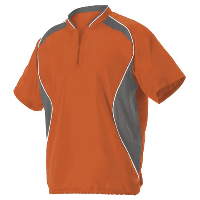 Youth Short Sleeve Baseball Batters Jacket - Burnt Orange/ Charcoal Solid/ White
