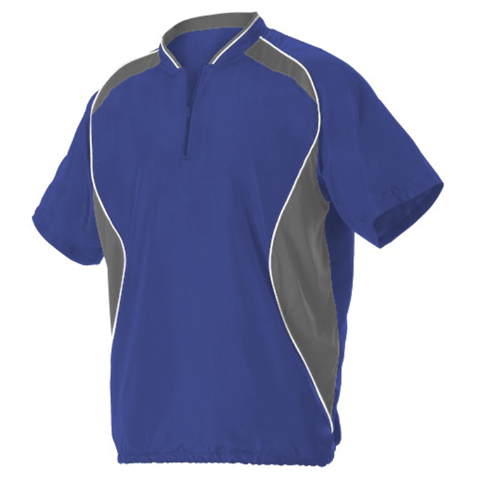 Youth Short Sleeve Baseball Batters Jacket - Royal/ Charcoal Solid/ White