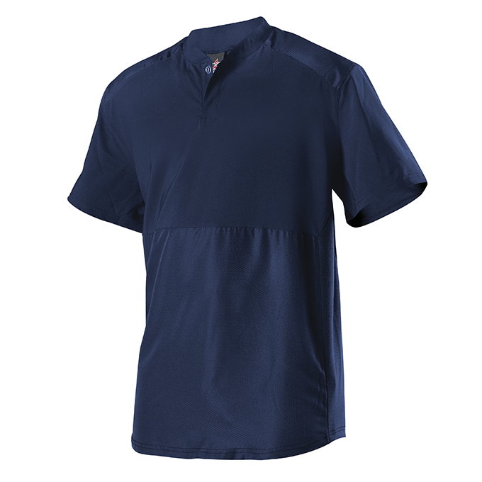 Adult Short Sleeve Stretch Woven Batters Jacket - Navy