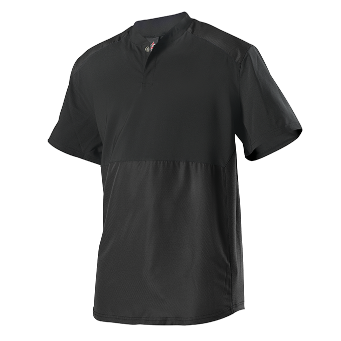 Youth Short Sleeve Stretch Woven Batters Jacket - Black
