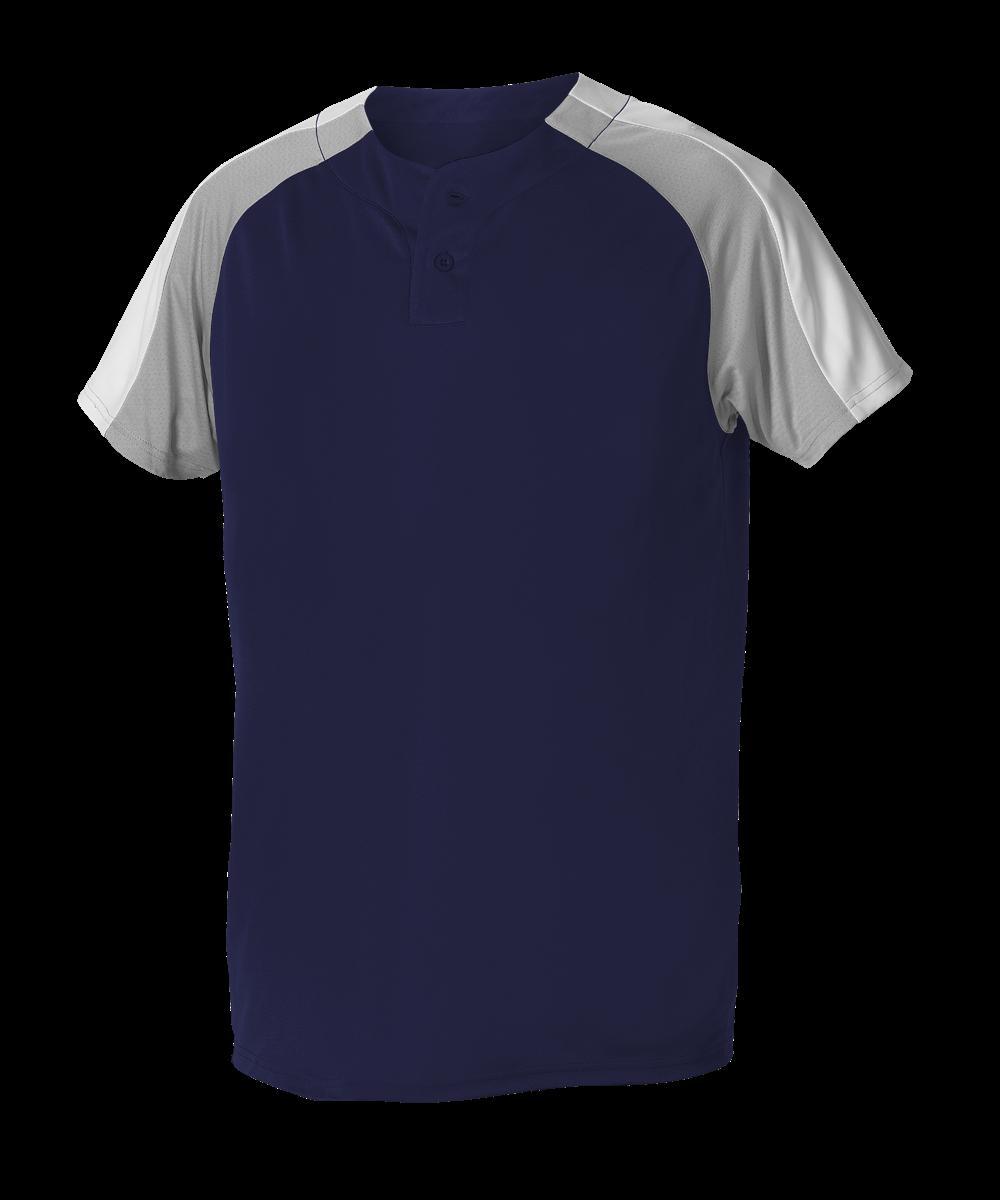 Adult 2 Button Henley Baseball Jersey - Navy/ Grey/ White (5063CH)
