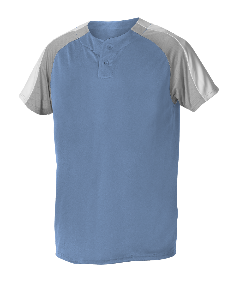 Youth 2 Button Henley Baseball Jersey - Sky Blue/ Grey/ White (5063CHY)