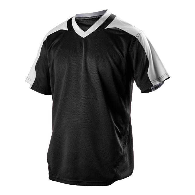 Youth V Neck Baseball Jersey - Black/White (521VNY)