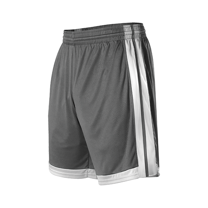 Womens Single Ply Basketball Short - Charcoal Solid/ White