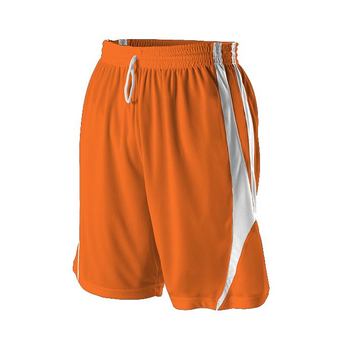 Adult Reversible Basketball Short - Burnt Orange/White