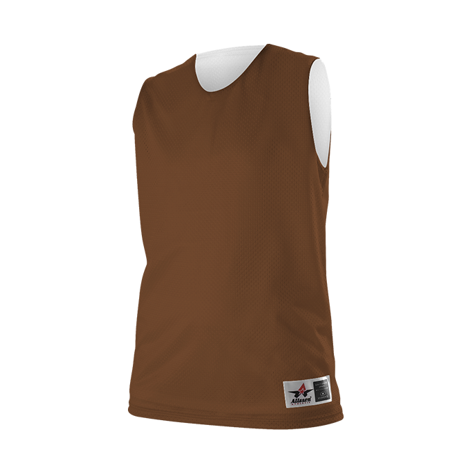 Womens Reversible Mesh Tank - Brown/ White