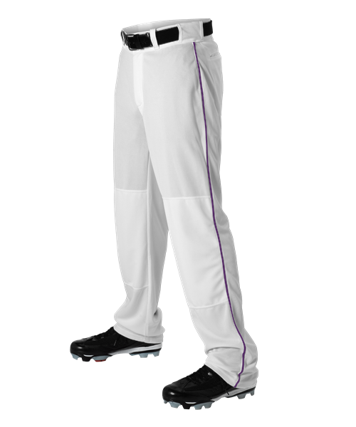 Adult Baseball Pant With Braid - White/Purple