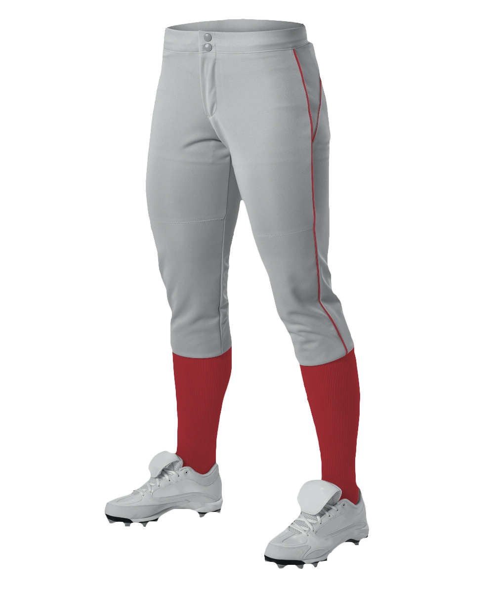 Womens Belted Piped Fastpitch Pant - Grey/ Red