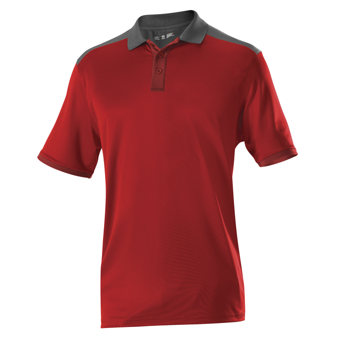 Adult Color Block Gameday Basic Polo - Red/ Charcoal Solid