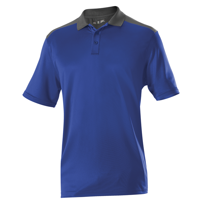 Adult Color Block Gameday Basic Polo - Royal/ Charcoal Solid